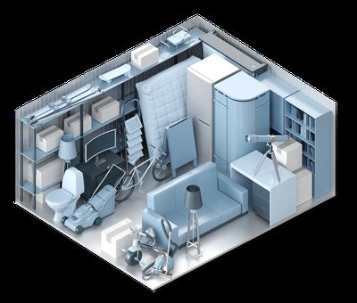 3D-Darstellung der Lagerraum-Größe XXL