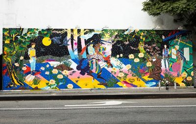 huge colourful fantasy scene wall mural by side of public road