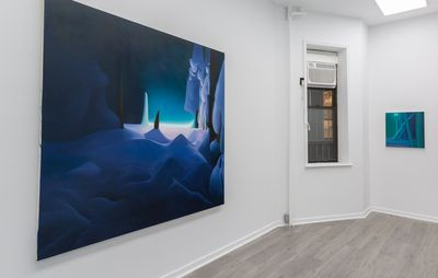 large landscape painting by Sarah Lee hangs on a white wall in an exhibition space
