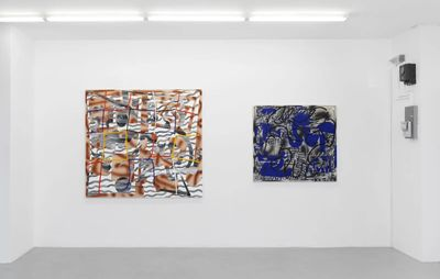 installation view of two paintings of varying sizes and colours hung on a wall