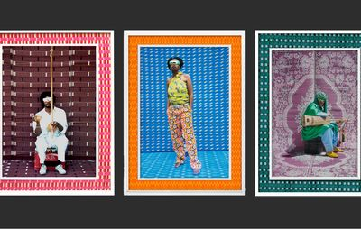 three photographs lined up horizontally all with colourful patterned backgrounds and borders