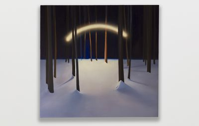 square painting of a rainbow of light in a snowy forest which hangs on a white wall