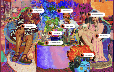 Amani Lewis painting of three figures sat around a coffee table with shopping labels on them