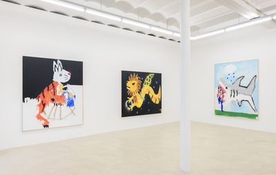 installation view of two large paintings on one white wall and another large painting on another wall