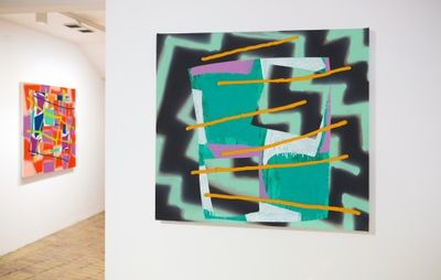 installation view of patterned abstract green and black painting painting with coloured details hung on a white wall