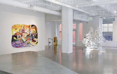 Installation view of white gallery with sculpture and one large painting