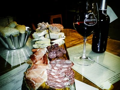 Antipasta and red wine in Florence