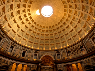 Looking up at the remarkable ceiling of the Pantheon in Rome
