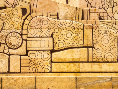 Close-up of Mayan-style jaguar carving on the Monument to the Fatherland in Merida, Mexico