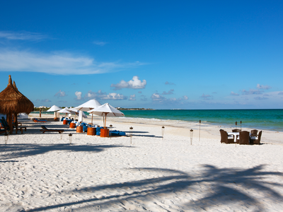 A beautiful white sand beach near Playa Del Carmen, Mexico