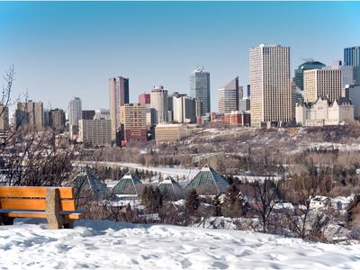 A snowy view of Edmonton in winter