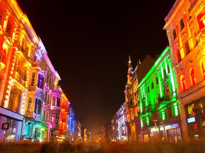 Piotrkowska - Lodz city's main street during the annual Festival of Light.