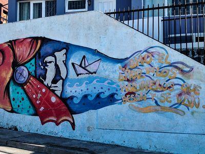 Fish street art in Valparaiso, Chile
