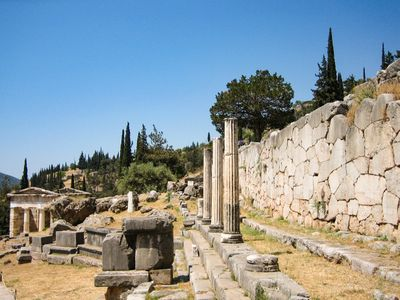 The ruins of the Stoa of the Athenians in Delphi