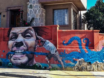 A mural on a wall in Valparaiso
