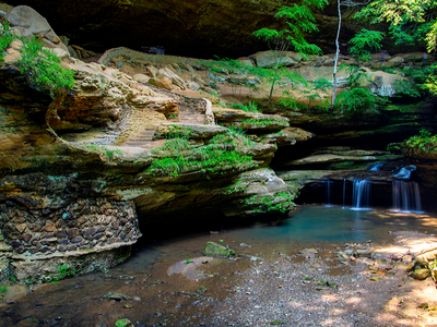 Ferns and a waterfall in Hocking Hills, Ohio