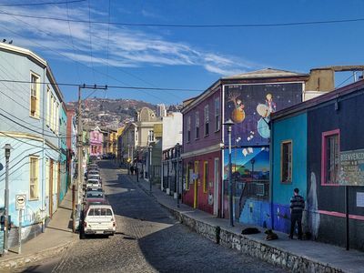 A colourful street in Valparaiso, Chile