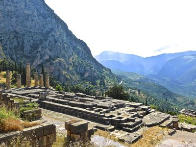 The ruins of Delphi on the slope of the mountain