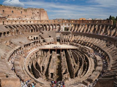 Looking down at the seating and tunnels of the Colosseum in Rome