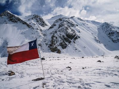 A Chilean flag in the snow