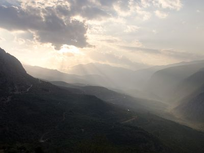 Sunlight spilling over the mountains