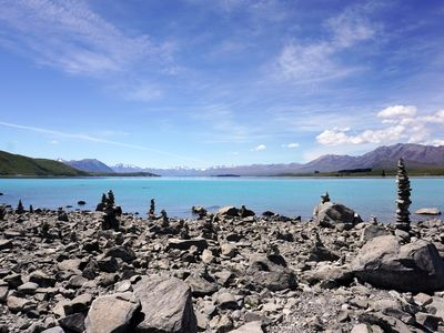 Stacked stones by Lake Tekapo