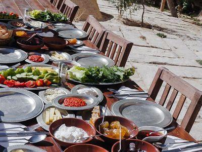 A Turkish breakfast at a farm in Cappadocia