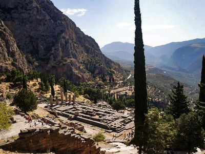 Looking down on the ruins of Delphi
