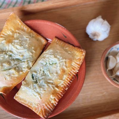 Vegetar calzone med ricotta spinat