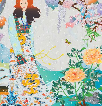 Person in colourful setting surrounded by flora and fauna, The Couch Unsent Piano by Tomokazu Matsuyama -  detail shot