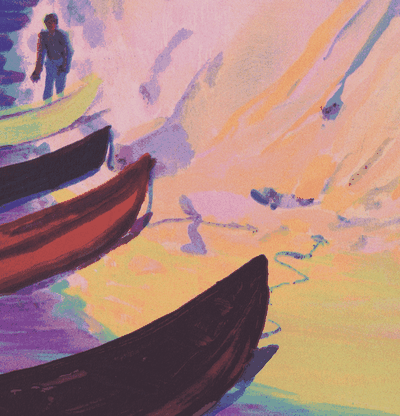 Detail of a print of boats lined up on a sandy shore