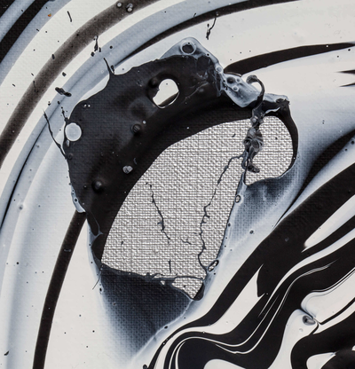 detail of monochrome print of splashing paint