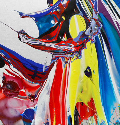 detail of a print of swirling splashes of coloured paints