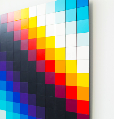 Panels in various colour shades, Chromadynamica Variable (Color) by Felipe Pantone - detail shot