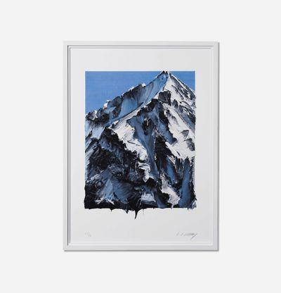 framed print of a snowy mountain peak by artist Conrad Jon Godly