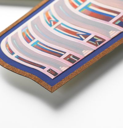Shaped print with psychedelic image, Zodiac Wave by Zach Harris - detail shot
