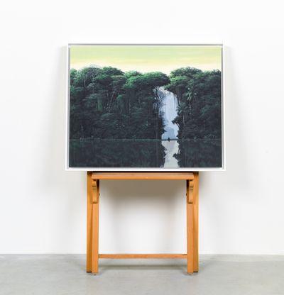 Meditating figure siting by a lake in the jungle, Meditador En La Orilla by Tomas Sanchez - in situ