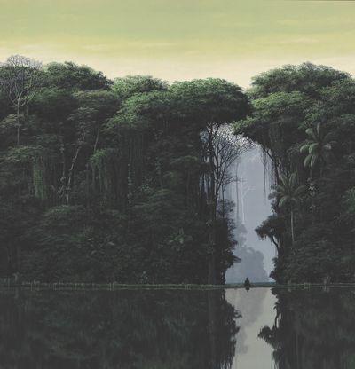 Meditating figure siting by a lake in the jungle, Meditador En La Orilla by Tomas Sanchez