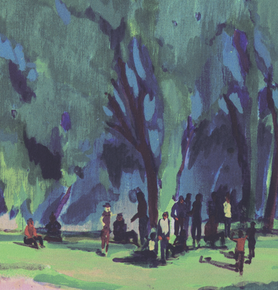 Detail of print with figures gathering in a woodland