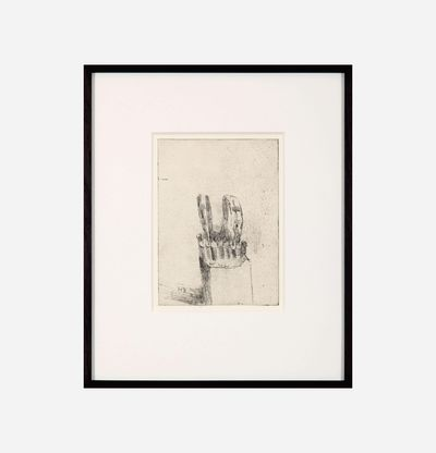 Framed etching of a sculpture by Jake and Dinos Chapman