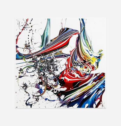 splashes of bold colours against white background