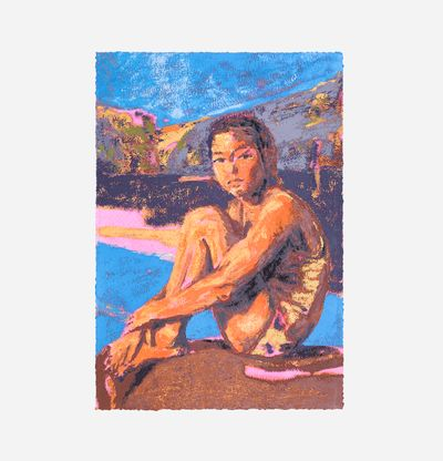 Print of a girl in a swimming costume sat by a pool