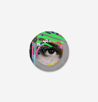 circular print of an eye with coloured splashes of paint around it and three bright green stripes