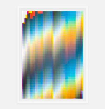 Pixelated colour spectrum with orange and blue squares