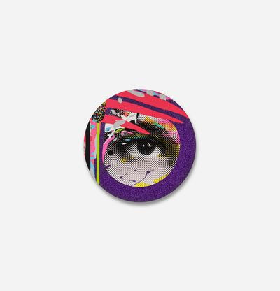 circular print of an eye with purple glitter border and three pink stripes