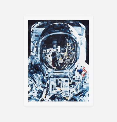 print of an astronaut with thick, clear brushstrokes
