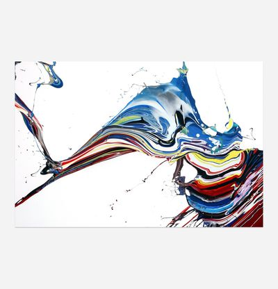 coloured paint mixed together and splashed across a white background