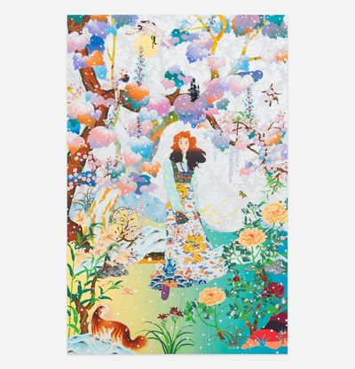 Person in colourful setting surrounded by flora and fauna, The Couch Unsent Piano by Tomokazu Matsuyama
