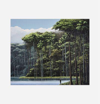 Person meditating by lake surrounded by jungle, Encontrar Al Meditador by Tomas Sanchez