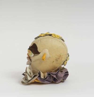 Soft sculpture of leather and cloth, Dhalia by Tau Lewis
